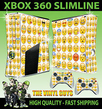 XBOX 360 SLIM EMOJI FACES ICONS MOODS SMILEYS STICKER SKIN & 2 X PAD SKINS
