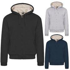 New Mens Fur Lined Winter Plain Hoodie Jacket Thick Sherpa Fleece Hooded Zip Top