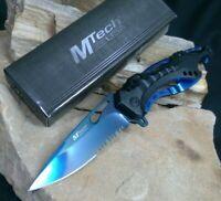 MTech Assisted Blade Tactical Blue Rescue Pocket Knife Vib Bottle Opener