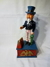 Vintage Cast Iron UNCLE SAM MECHANICAL COIN BANK Rare !