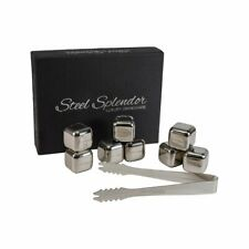 Stainless Steel Whiskey Rocks Stones Set of 8 with Tongs, Reusable Ice Cubes