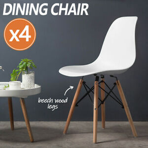 4 x Retro Replica DSW Dining Chair Cafe Kitchen Wood Legs Plastic Chairs