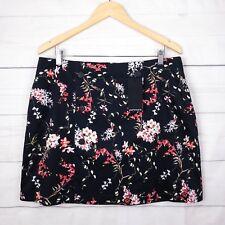 New $90 Portmans Skirt 16 Chasing Vine Floral Stretch A-Line Pocket Black Red