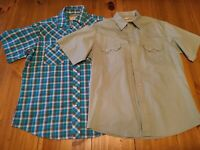 Lot of 2 Womens Wrangler Large Pearl Snap Short Sleeve Shirts