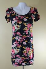 FOREVER 21 WOMEN'S DRESS FALL WINTER FLORAL BLACK BODY CON SHORT CUTE CASUAL