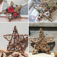 Hanging Pentagram Wreath Wicker Garland Rattan Plant Xmas Door Wall Decor DIY
