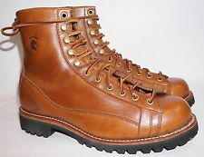 Chippewa Leather Laced Boots 9 E Mahogany Brown Vibram Sole