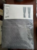 Pair Ikea Lenda Gray Unlined Curtain Panel 55x98 Linen Look Cotton Tab Top (x2)