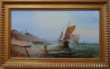 ROBERT DUMONT SMITH BORN 1908 ORIGINAL SIGNED OIL PAINTING MARINE SHIPPING SCENE
