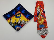 Bill Clinton Necktie & Hillary Clinton Political Satire Scarf by Newsweek RARE