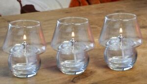 3 x  Clear Shanghai Oil Lamp Candle burners for use with Odourless Lamp Oil