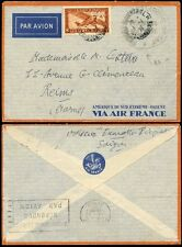 FRENCH INDOCHINA 1936 MILITARY AIRMAIL...FRANCHISE MILITAIRE E.O LARGE CIRCLE