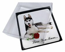 4x Husky with Rose 'Love You Mum' Picture Table Coasters Set in Gif, AD-H55RlymC