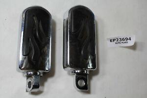 Harley flamed chrome / rubber footpegs FXR Dyna Softail Sportster FL EPS23694