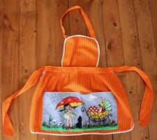 Vintage 1970s Child's Bib Apron Cute Scene, Umbrella, Dog, Baby Buggy