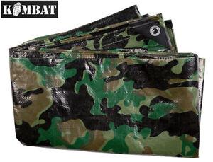 Kombat PE Camo Camouflage Tarpaulin Army Waterproof Camping Ground Sheet Outdoor