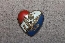 Original WW2 U.S. Army Sweetheart Red, White & Blue Tin Heart w/Army Crest, PB
