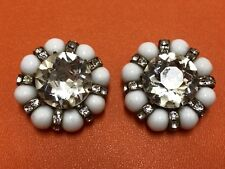 Vintage White Crystal Beads Clips Brooch