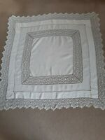 Vintage square off-white linen cloth with crocheted edge and insert.