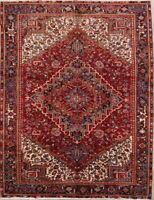 "Excellent Vintage Geometric 10x13 Oriental Area Rug Hand Knotted 12' 6"" x 9' 7"""