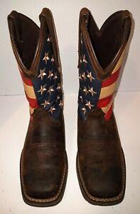 Durango Rebel American Flag Western Patriotic Boots Brown DB5554 Men 7.5 Women 9
