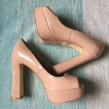 Steve Madden Nude P Reed Chunky Pump Patent High Heels Size 10 Shoes Tan Leather