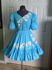 square dance skirt and blouse Turquoise with hand painted dogwood flowers size P