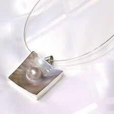 925 SOLID SILVER LARGE MOP MABE CHOKER PENDANT *Pretty little Kiss*