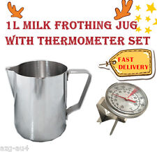 NEW 1L MILK JUG&FROTHING THERMOMETER SET Frother Espresso Coffee Stainless Steel