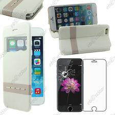 """Accessoire Housse Coque Etui S-View Flip Cover Blanc Apple iPhone 6 4,7"""" + Verre"""