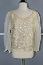 ee996e9270cf5 Vintage 60s Iridescent Sequin Top w  Beaded Detail and Sheer Sleeves Medium