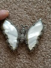 Large Sterling Silver Marcasite Butterfly Brooch, MOP