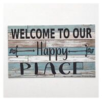 Welcome to Our Happy Place Blue Rustic Vintage Sign Wall Plaque or Hanging