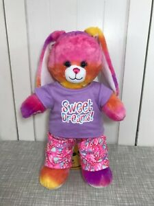 💜 Build a Bear Bright Pink Tropical Bunny Rabbit w/ Sweet Dreams Pajamas PJs