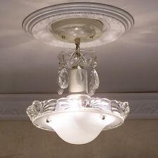 155b Vintage aRT DEco CEILING LIGHT chandelier fixture glass shade white 3 Light