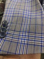 New 38S Men's SLIM Gray Blue Suit 100% Wool Super 150 Made in Italy Ret/$1295