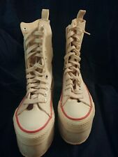 Vintage British White Bunny Brand Womens Platform High Top Lace Up Sneakers