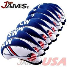 NEW 10 pcs Golf Head Cover Club Iron HeadCovers Protect set Neoprene US USA Flag