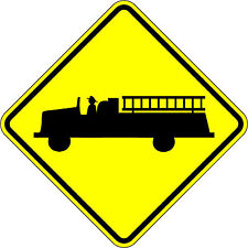 Fire Truck Crossing - 18 x 18 Warning Sign - A Real Sign. 10 Year 3M Warranty.