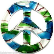 GLASS LAMPWORK PENDANT CHARM PEACE SIGN WHITE GREEN BLUE SWIRLS LAMP WORK
