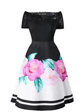 Plus Size Women Rose Floral Swing Vintage Rockabilly 50'S Retro Red Party Dress