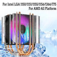 90mm CPU Cooler 4 Heatpipe 4pin LED RGB Fans for LGA 775/1155/1156/1150/1366 AMD