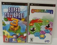 Chameleon & Super Collapse 3 puzzle Game Lot  Sony PSP 2 Playstation Portable
