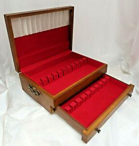 Wood Tarnish Resistant Silverware Flatware Storage Chest Box Wooden Drawer 53