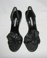 Hollywould Gray/Blk Textured Lizard Leather w/Flower Open Toe Slingback Sandal 8