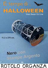 HALLOWEEN ROTOLO ORGANZA NERO Stampe ARGENTO Decorazione HORROR FESTA 270 cm