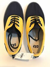 GAP Kids Canvas Tennis Lace-Up Sneakers Shoes Yellow Blue Youth Boys Size 4 new