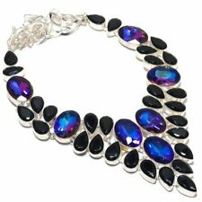 Mystic Topaz, Spinel Gemstone Handmade 925 Sterling Silver Jewelry Necklace 18""