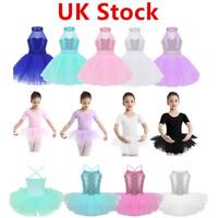 UK Toddlers Kids Girls Ballet Leotard Tutu Dress Lyrical Shiny Skirt Gym Costume