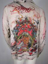 Ed Hardy Sweater Hoody Knit Studded Buddha 3 Eyes Off White Hoodie L Large